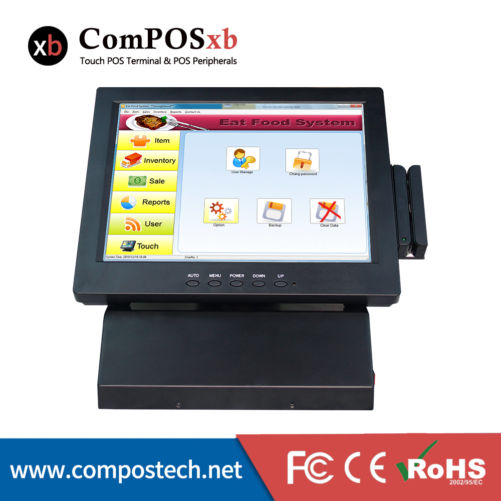 Supermarkets Equipment All In One Epos Pos Terminal System 12 Inch TFT Touch Screen Monitor Pos PC 15 inch tft lcd touch screen monitor core i3 touch screen pos all in one restaurant epos system with msr customer display