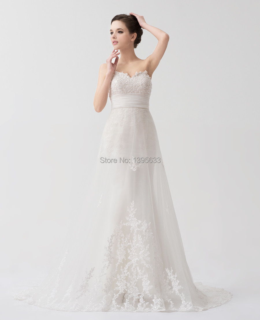 Women mermaid style petite wedding dress appliqued lace for Lace wedding dress overlay