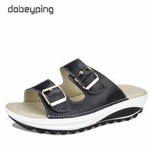 2017 Casual Women's Sandals Genuine Leather Summer Flats Shoes Women Platform Wedges Female Slides Beach Flip Flops Size 35-42