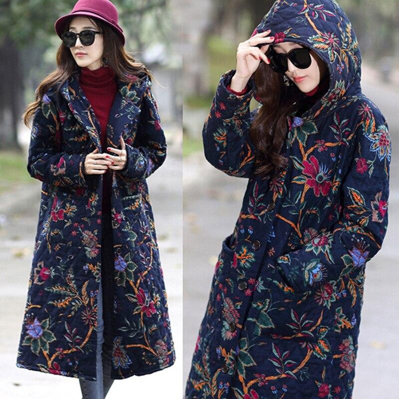New Winter 2016 Women Cotton-padded Jacket Add Wool Thick Printing Coat Hooded Big Yards Slim M062