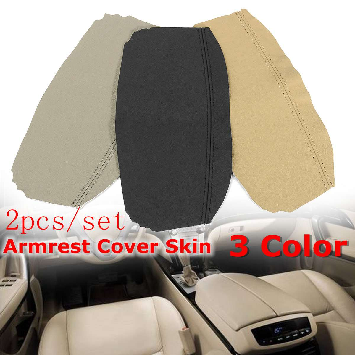 2pcs Car PU Leather Armrest Center Console Cover Lid Skin
