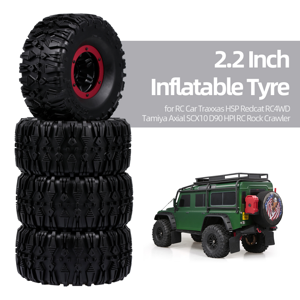 4pcs 135mm 2.2 Inch Rim Rubber Inflatable Tyre Tire Wheel For RC Car Traxxas HSP Redcat RC4WD Tamiya Axial SCX10 D90 HPI RC Rock Crawler