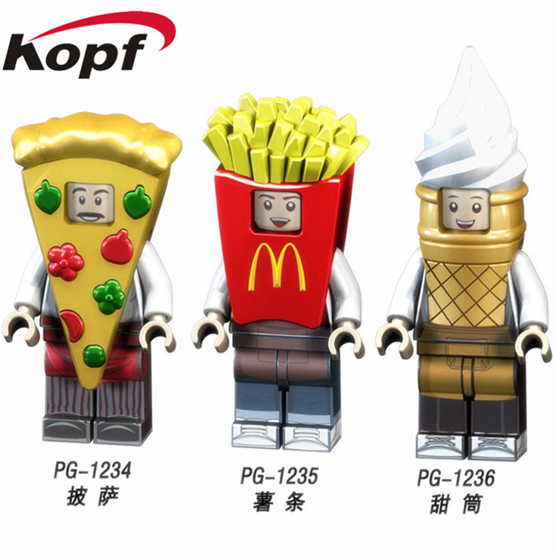 Super Heroes Single Sale Fast food Series Figure Set Pizza French Fries Cone Man Model Building Blocks Children Gift Toys PG8114 factory price pizza cone oven pizza cone machine pizza vending machines for sale