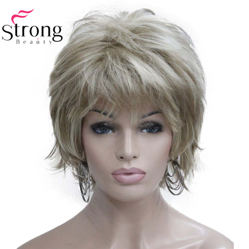 StrongBeauty Short Flip Up Blonde Mix Full Synthetic Wig COLOUR CHOICES