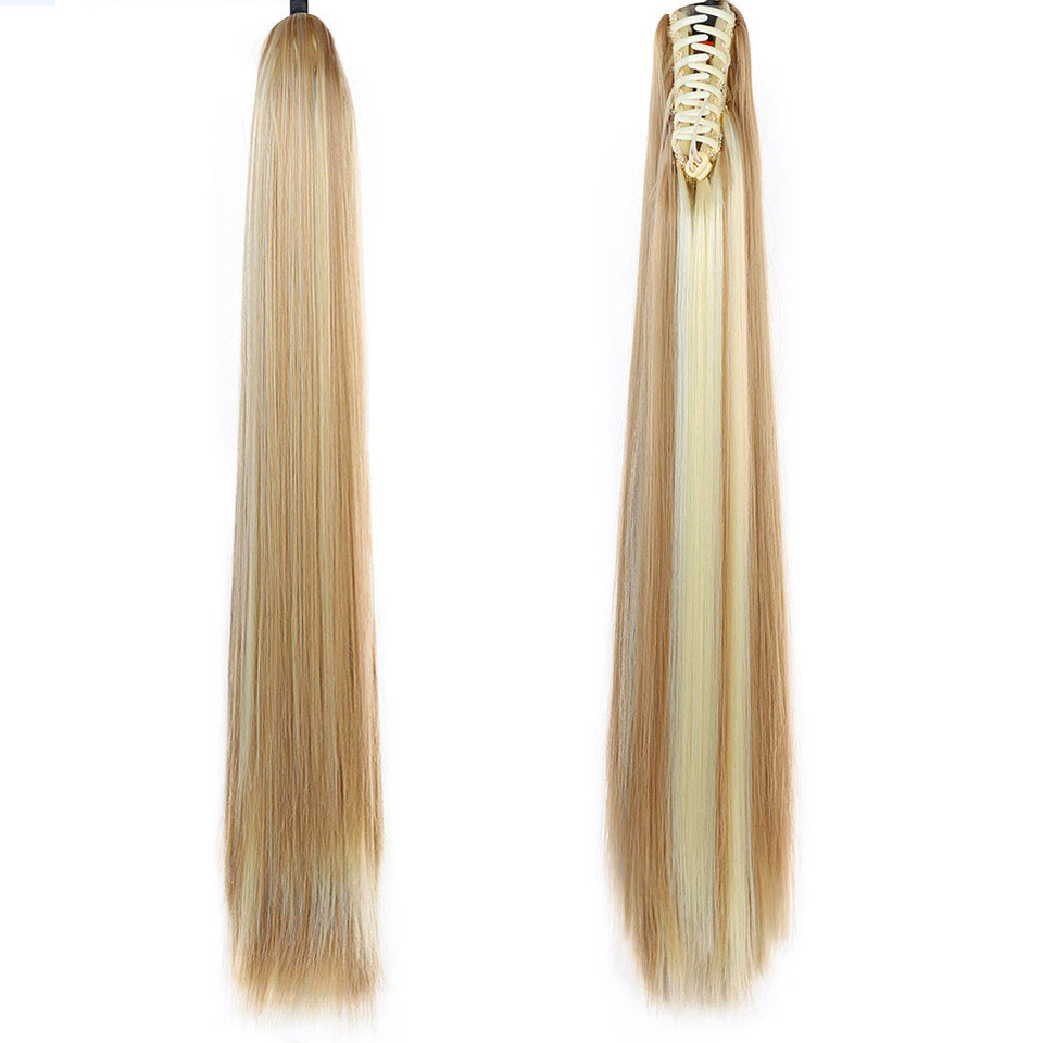 WTB Long Straight Ponytail Natural Fake Hair Tail Hairpieces Heat Resistant Synthetic Fake Hair Long Black Ponytail