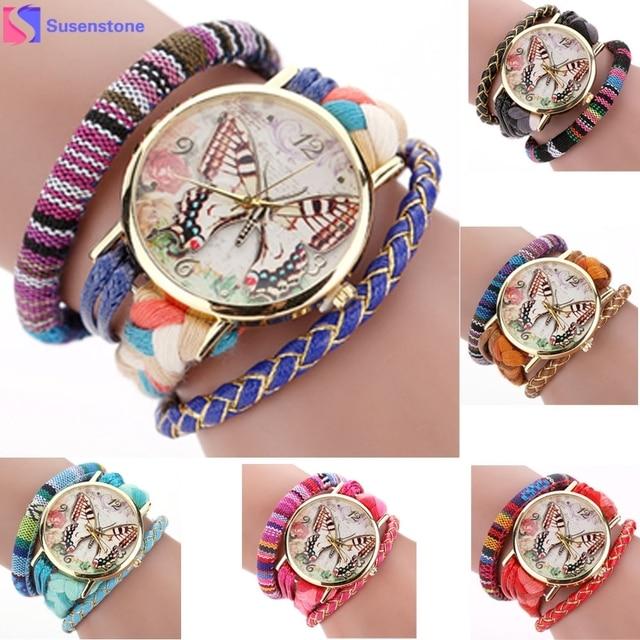Watch 2016 Classic dress watch Round Butterfly Women Weave Wound Wrap Quartz Watches Relogio Feminino Clock Bracelet Watches