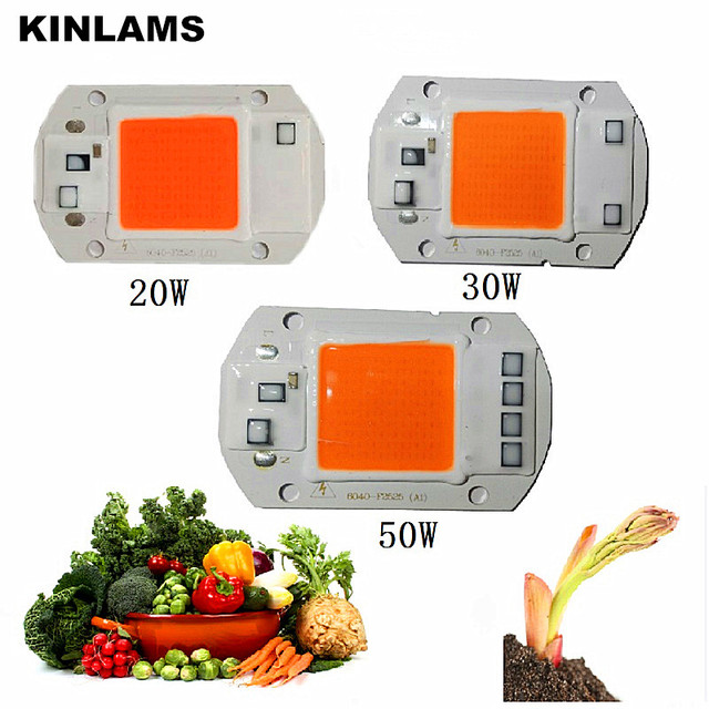 KINLAMS LED Grow Light Chip Full Spectrum 220V 380nm~780nm For Hydroponics/Greenhouse LED Plant Grow Lamps 230V 120V 20W 30W 50W