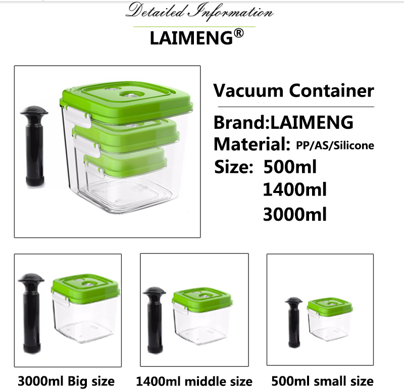 LAIMENG Vacuum Container Large Capacity Food Saver Storage Square Plastic Containers With Pump 500ML 1400ML 3000ML S166 in Vacuum Food Sealers from Home Appliances