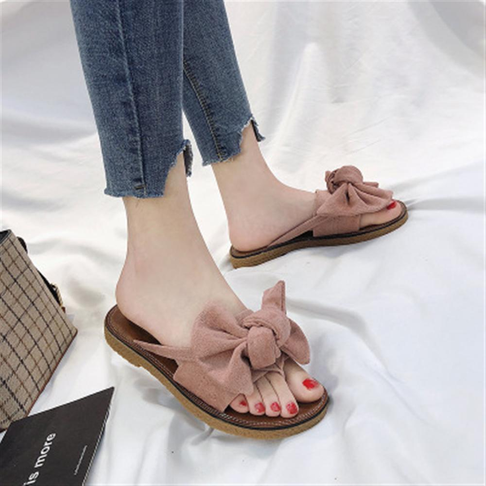 Summer Hot Sale Women Flip Flops Fashion Solid Color Bow tie Flat Heel Sandals Size 36-40 Outdoor Slipper Beach Shoes For Female bow summer sandals slipper indoor outdoor flip flops beach shoes for women sexy open toe summer dress shoes for female hot sale
