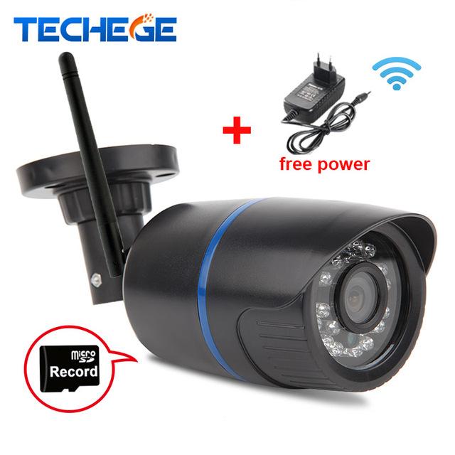 Techege 720 p wifi câmera ip à prova d' água hd rede 1.0mp wi-fi dia câmera de visão nignt Em/Ao Ar Livre câmera ip W de energia livre adaptador