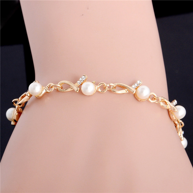SHUANGR Alloy Fashion Women Simulated pearl Jewelry Best Selling Simple Crystal