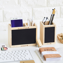 Stationery Creative Multi Function Pen Wooden Small Fresh Double Lattice Office Blackboard Storage Box
