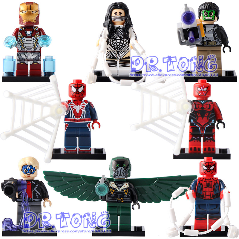 DR.TONG Single Sale X0168 Super Hero Iron Man Game Spiderman Ends of the Earth Vulture Silk Masked Robber Spider-Man Blocks Toys купить