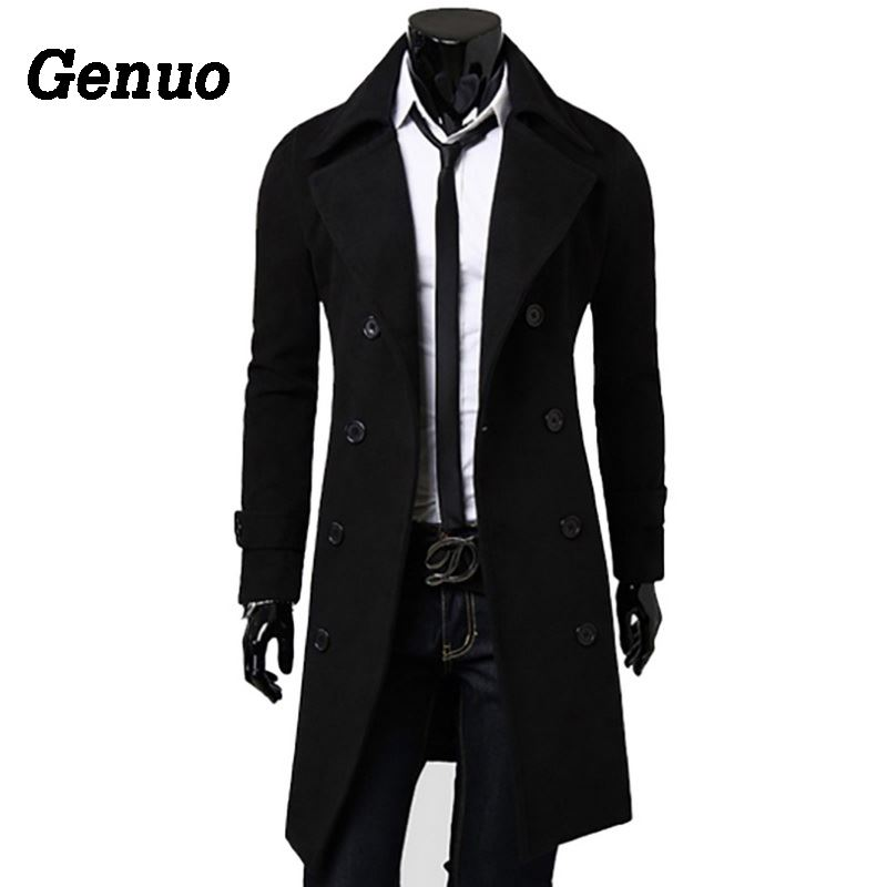 100% Wahr Genuo Herbst Winter Wolle Mantel Männer Baumwolle Wolle Mischung Lange Mantel Top Qualität Zweireiher Mantel Männer Kleidung 2018 3xl