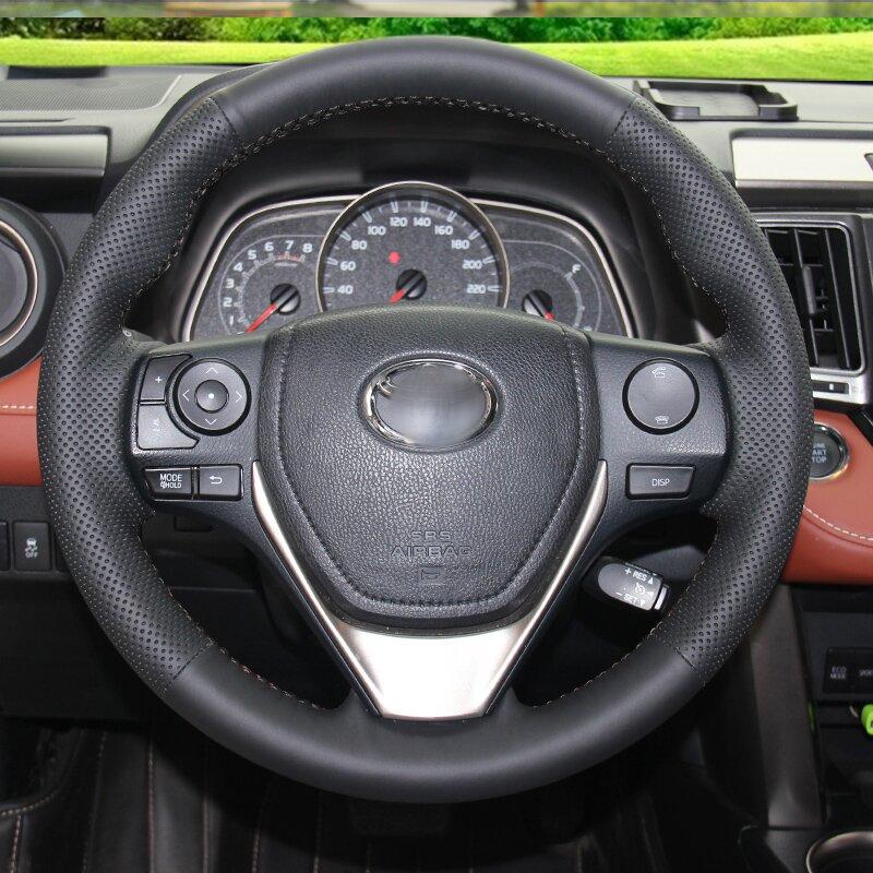Cubierta del volante de cuero artificial negro brillante para Toyota - Accesorios de interior de coche - foto 2