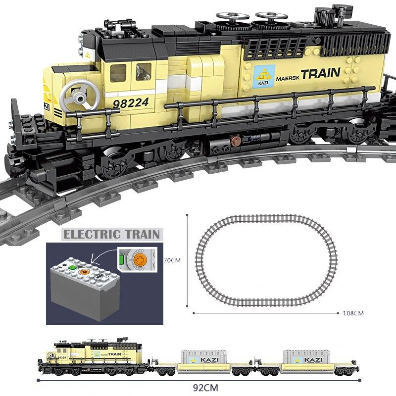 Oyuncaklar ve Hobi Ürünleri'ten Bloklar'de KAZI Teknik Akülü Elektrikli Klasik leSet Şehir Tren Demiryolu Yapı Taşları Tuğla hediye oyuncaklar Çocuk Boys Kızlar Için'da  Grup 3