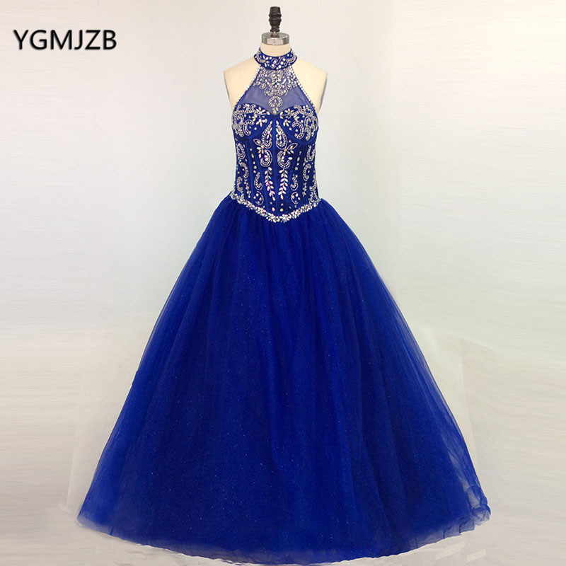 Royal Blue Prom Dresses 2018 Ball Gown Halter Beaded Appliques Lace ...