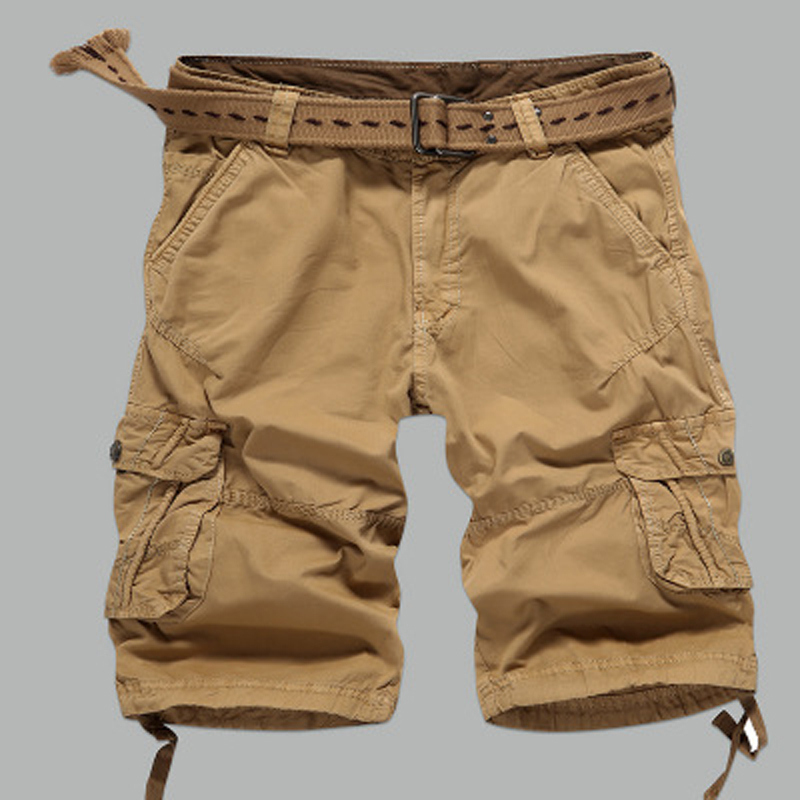 Summer Mens Shorts 2018 New Camouflage Cargo Pockets Military Trousers Loose Casual Regular Cotton Short Pants No Belt 2018 38