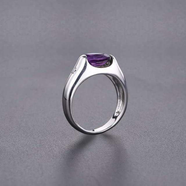 GEMS BALLET 1.79Ct solide naturel ovale améthyste bague Vintage 925 en argent Sterling pierres précieuses anneaux pour les femmes de mariage bijoux fins