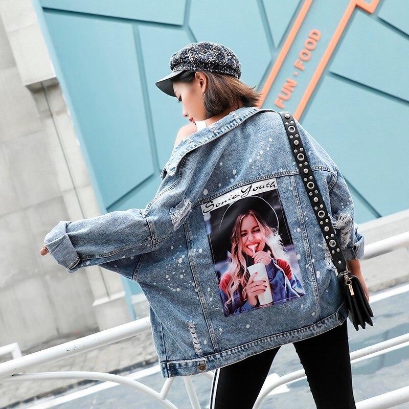 Plus Size Print Girl Korea Kpop Frayed Patch Bomber Jeans   Basic     Jacket   Women Ripped Denim Coat Female Streetwear Harajuku Autumn