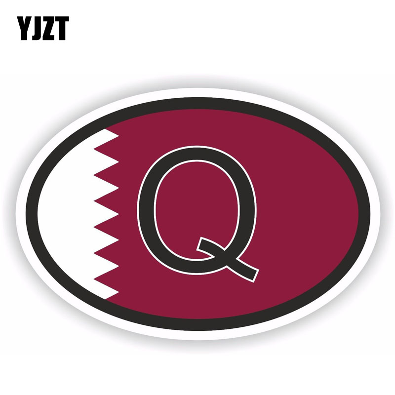 Q Qatar Country Code Oval Sticker Decal Vinyl Qatari euro