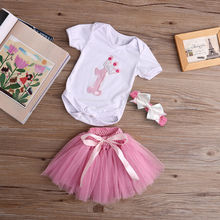 3 Pcs New Cute Fashion Baby Kids Girl Infant Bodysuit+Bow Headband+Pink Tutu Skirt Birthday Crown Outfit 0-24M