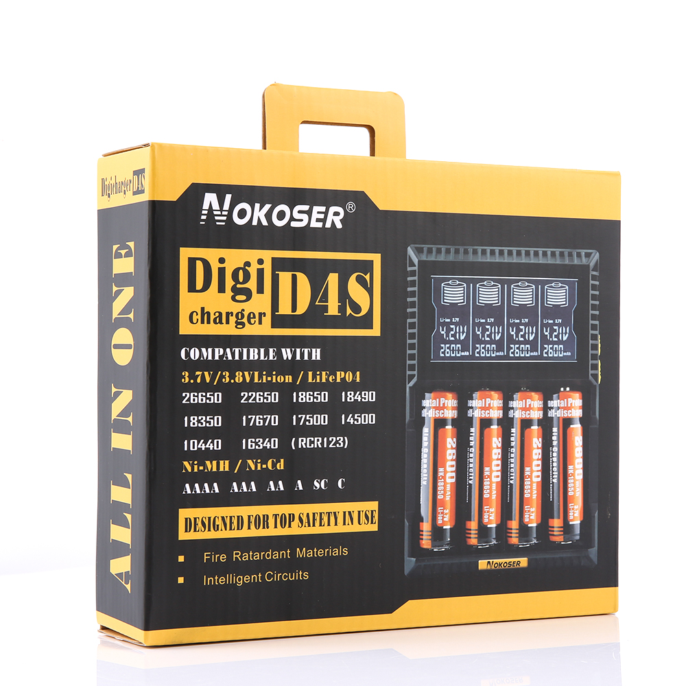 NOKOSER D4S 4 Slot LCD Intelligent Li-ion/LiFePO4 Battery Charger for Rechargeable Ni-MH/Ni-Cd AAA/SC 26650/18650 Batteries