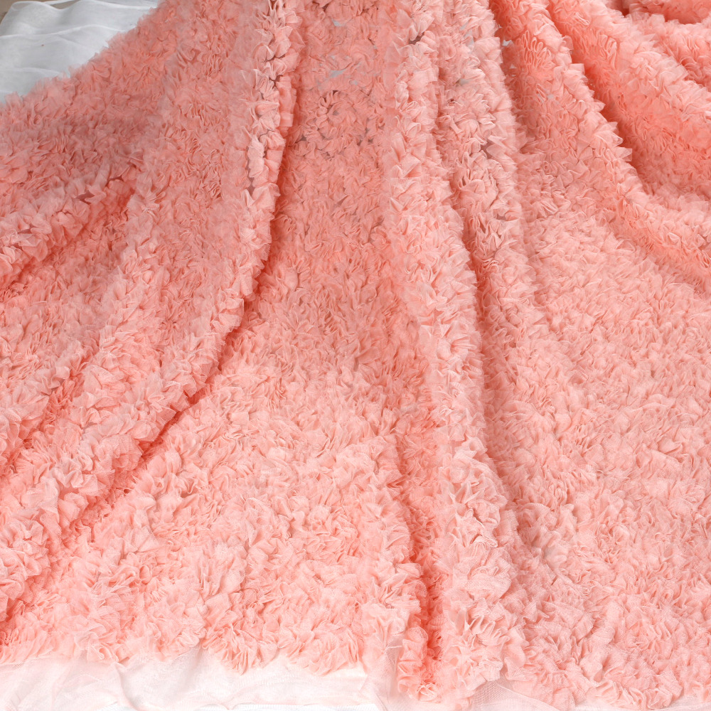 La Belleza 1 yard Pink Fashion stryle Turquoise 3D mesh embroidery wedding dress lace fabric 47