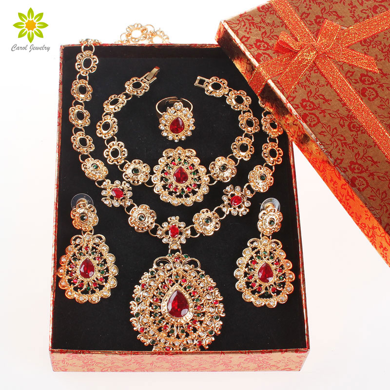Bridal Jewelry Sets Gold Color Jewelry Set Trendy Necklace Earrings Bracelet Set For Women Dubai Jewelry Set+Gift Boxes trendy rhinestoned flower leaf shape jewelry set necklace bracelet earrings for women