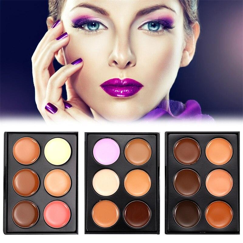6 צבע חדש הפנים קונסילר צבעים צבע טבעי מתקן Contouring Maquillage איפור נשים קוסמטיקה איפור Consealer Cremes