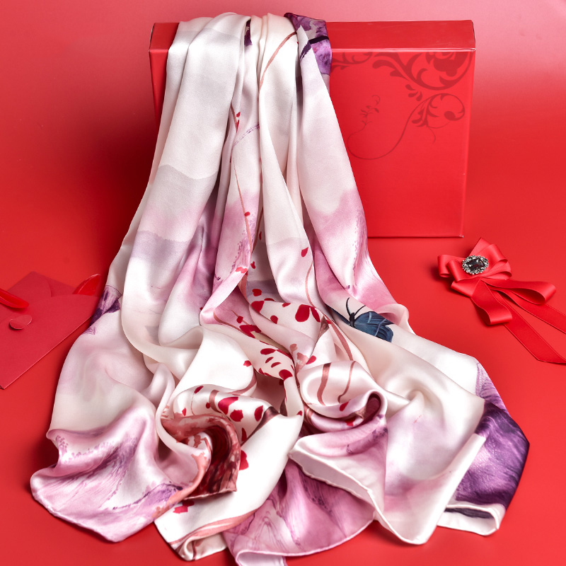 Natural Real Silk Scarves Ladies Luxury 2019 Hangzhou Pure Silk Shawls and Wraps for Women Print