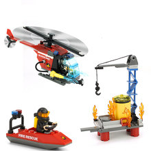 GUDI Sea Rescue City Fire Series Action Model Assemblage Building Blocks Kits Classic Educational Toys Gifts For Children