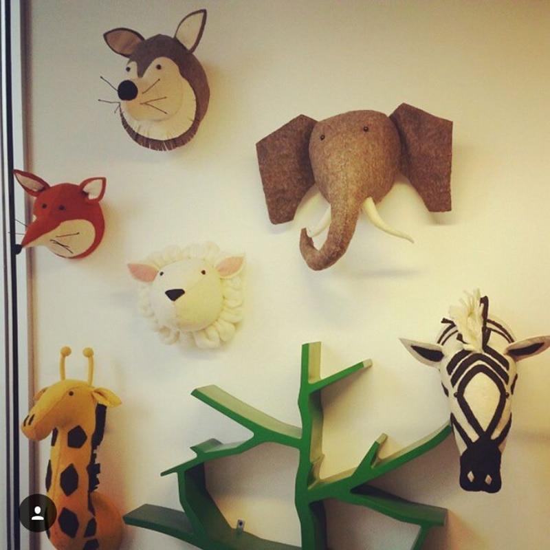 Handmade 3D Animal Head Toy Wall Decoration Flamingo/Giraffe/Fox/Tiger/Zebra/Elephant Stuffed Doll Baby Room Wall Hanger Artwork-in Stuffed & Plush ...