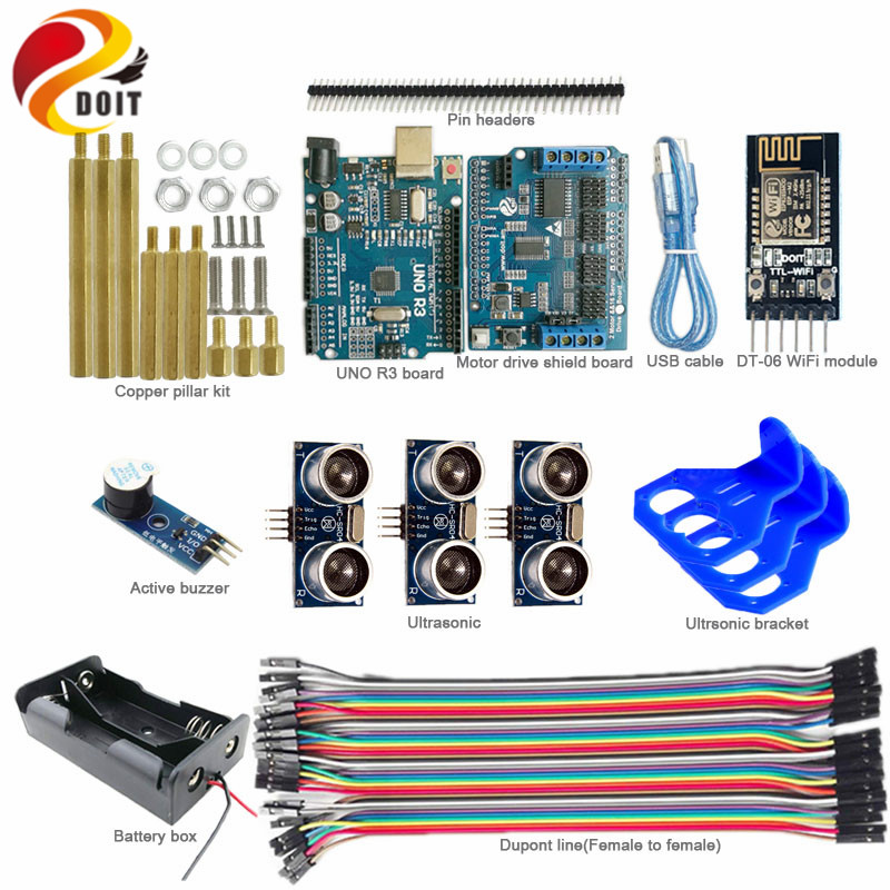 Kit d'évitement d'obstacles de contrôle WiFi DOIT avec carte UNO R3 + panneau de bouclier d'entraînement moteur + capteur à ultrasons pour réservoir Robot Arduino bricolage