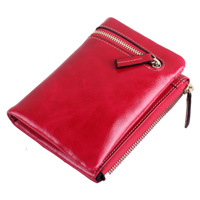 Korean Fashion Ladies Purse Short Head Layer Cowhide Leather Money Clip Oil Wax Retro Zipper Wallet