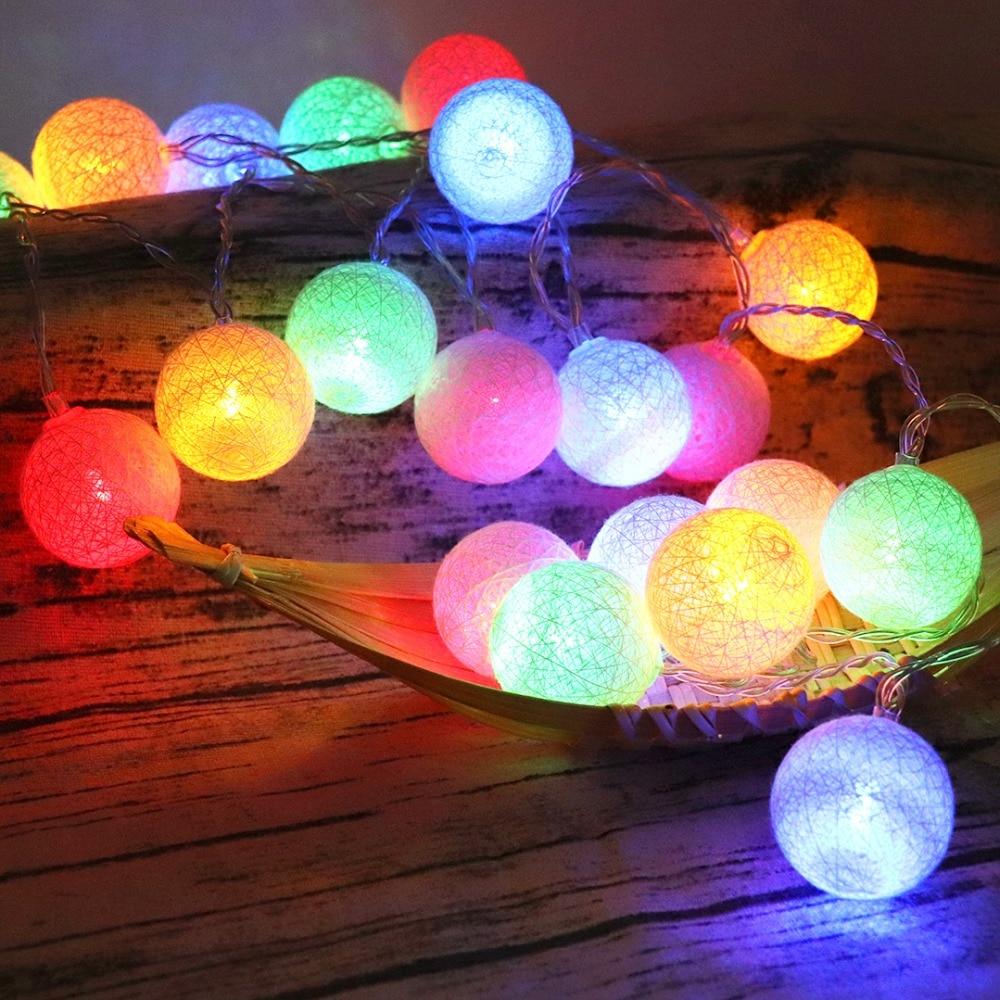 Bolas de algodón luces Navidad LED cadena decorativa Hada de Navidad guirnalda fiesta de boda iluminación batería USB carga suministro JQ