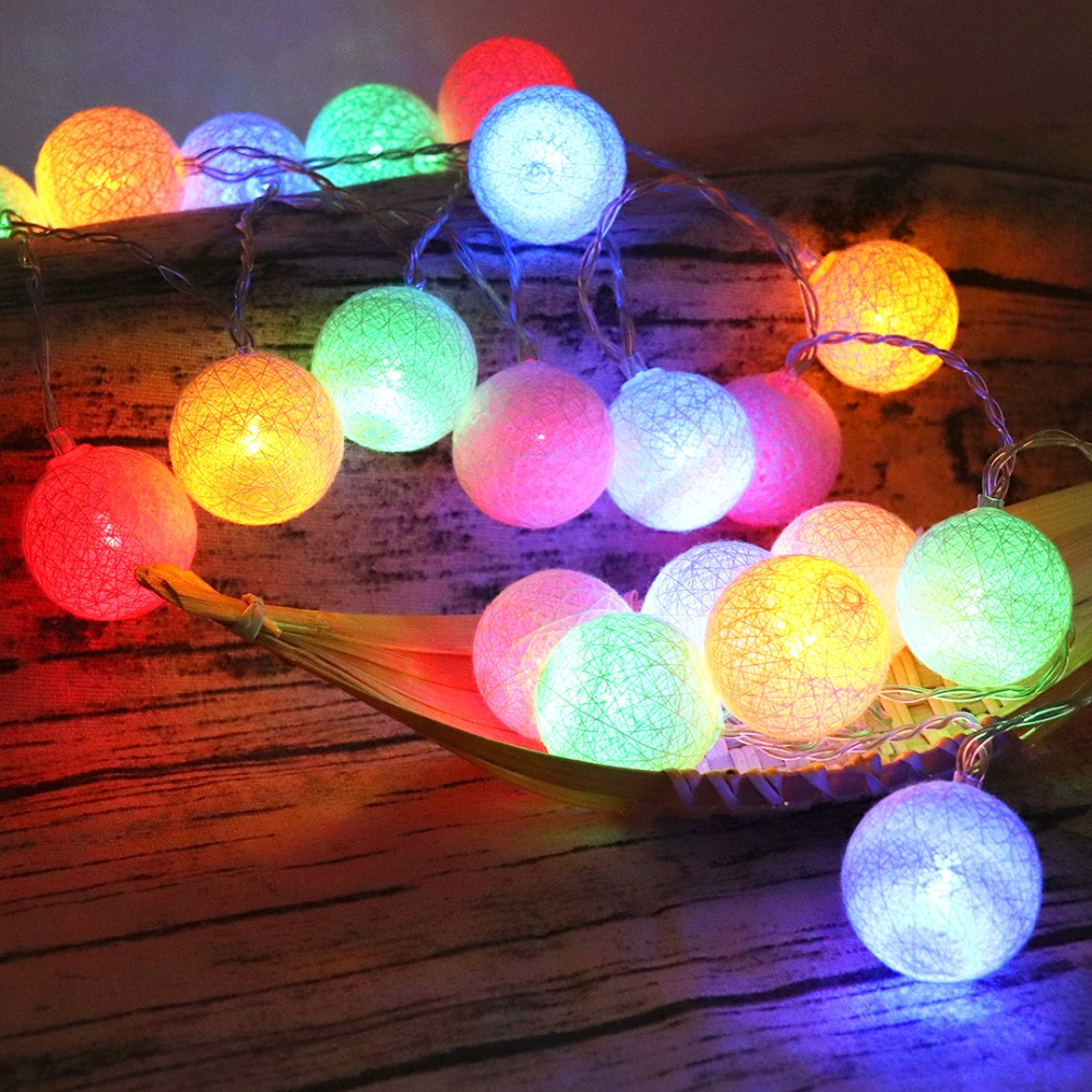 Cotton Balls Lights Christmas LED String Decorative Light Xmas Fairy Garland Wedding Party Lighting Battery USB Charge Supply JQ