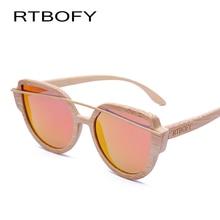 RTBOFY Cat Eyes Wood Sunglasses Polarized Women 2017 News Brand Designer Wood Sun Glasses For Women HD Lens UV400 Sunglasses