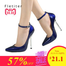 c86dcebf5682 Fletiter Shoes Women 12 cm High Heels Pumps Leather Pointed Toe Women Pumps  Ladies Shoes Thin High Heel Shoes Large Size 43 44