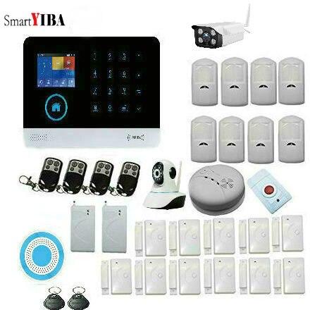 SmartYIBA Wifi Wireless GSM RFID Security Alarm System Wireless Outdoor IP Camera Siren Fire Smoke Detector Russian Italy Voice