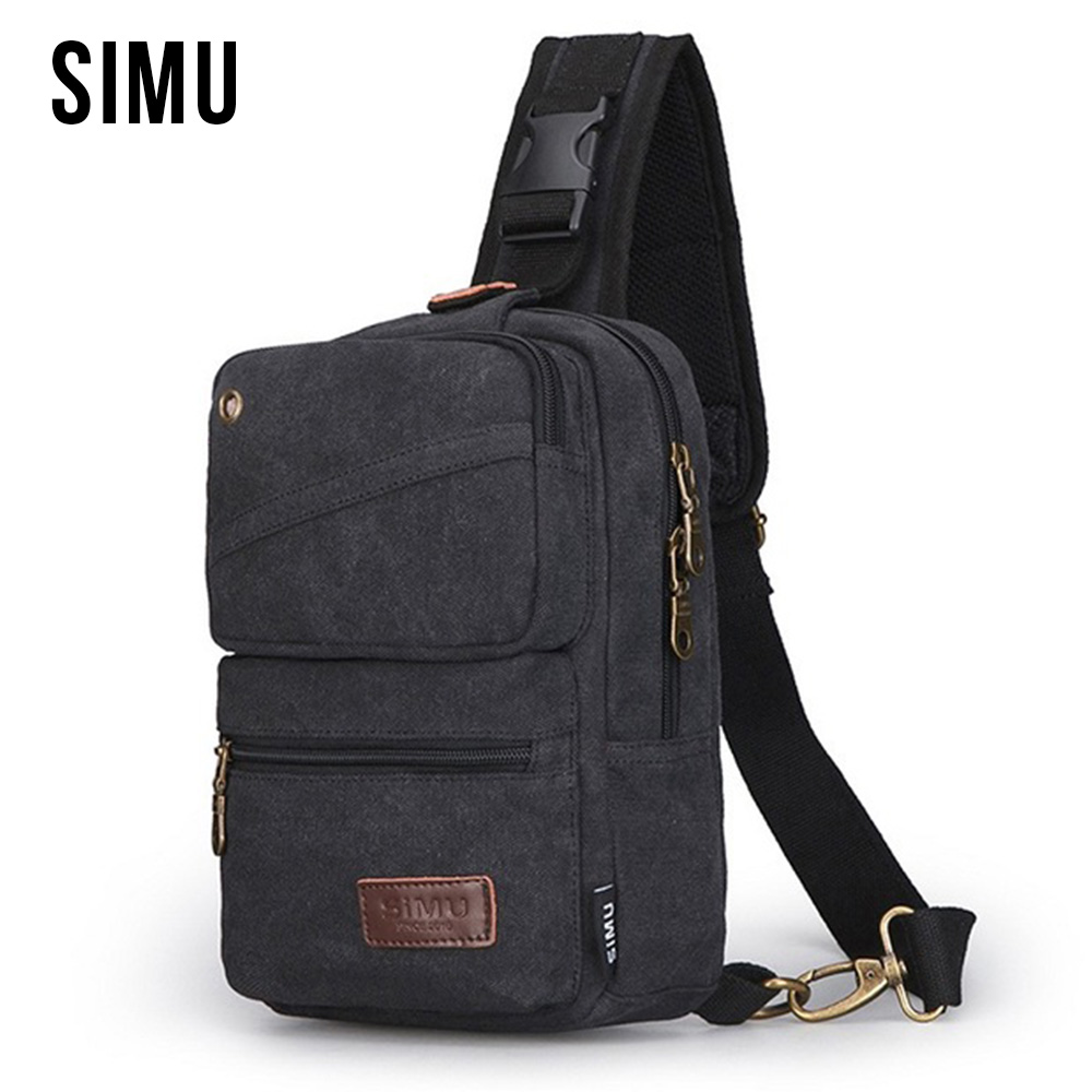 SIMU High Quality Canvas Bag Men Chest Bag Casual Travel Bag Fashion Black Shoulder Crossbody Vintage Men's Fashion Bags HQB1879 aosbos fashion portable insulated canvas lunch bag thermal food picnic lunch bags for women kids men cooler lunch box bag tote