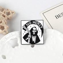 Broche de faucheuse noire, épingle en émail, épingle gothique, Punk, crâne, épingle à revers, bijoux d'halloween