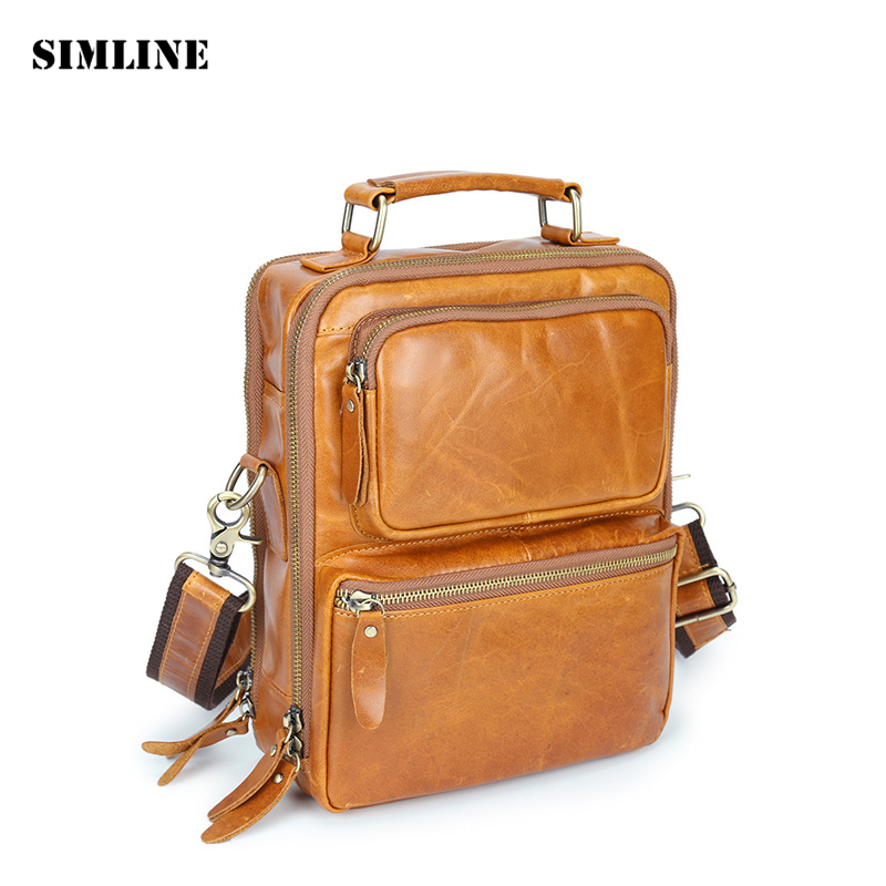 SIMLINE Brand Vintage Casual Genuine Leather Cowhide Men Men's Handbag Handbags Shoulder Messenger Crossbody Bag Bags For Man цена и фото