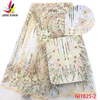 New High Quality 2019 Tulle Beaded French Nigerian Lace Fabrics Pearls Embroidered Guipure African Lace Fabric XZNI1825 2