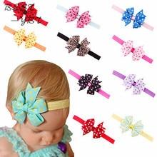Повязка для волос с цветочным бантом в горошек, 10 цветов, бант, аксессуары для волос, бантики ободок в горошек