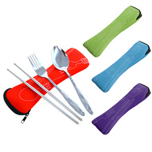 Behokic Tableware Set 3Pcs New Fork Travel Camping Steel Cutlery Portable Salad Meat Cake Fork Knife Knives Box Case Picnic