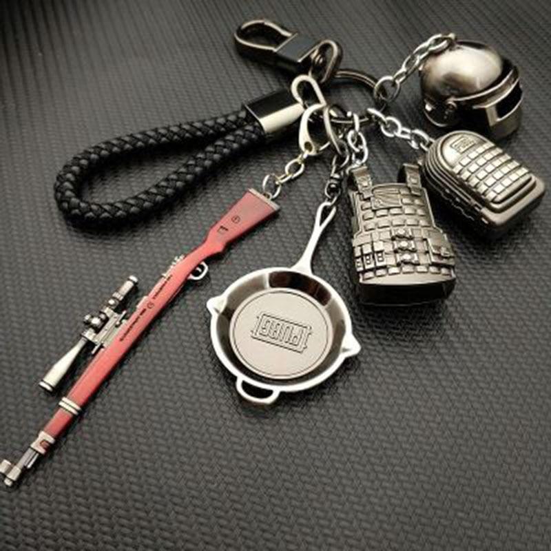 AudWhale PUBG Copper Keychain Helmet And Guns 98K Game Fans Key Chains Ring Glitter Llaveros For PUBG Fans Chaveiro