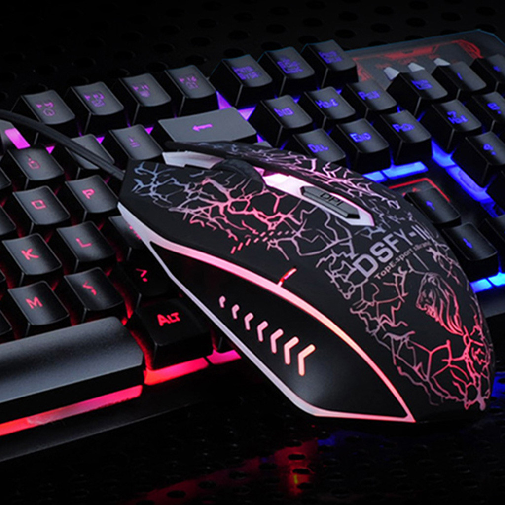 USB Rainbow Gaming Keyboard and Mouse Set Multi-Colored Changing Backlight Mouse