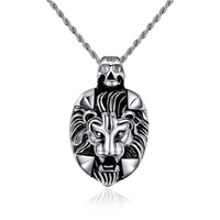 Personality Wild Lion Head Pendant Necklaces 316L Stainless Steel For Men Wholesale
