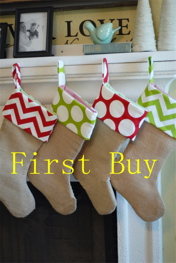 30pcslot free shipping monogram personalized christmas burlap stocking wholesale decorative socks gift bag for christmas in stockings gift holders from